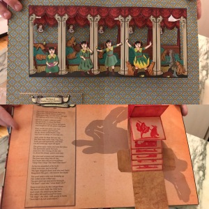 """The Struwwelpeter and More Morbid Pop-Up Tales"" sample book: The Story of Pauline and the Matches and The Story of the Man Who Went Out Hunting"