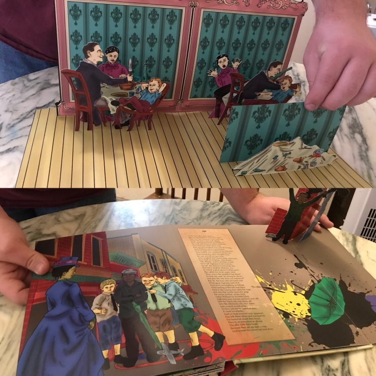 """The Struwwelpeter and More Morbid Pop-Up Tales"" sample book: The Story of Fidgety Phillip and The Story of the Inky Boys"