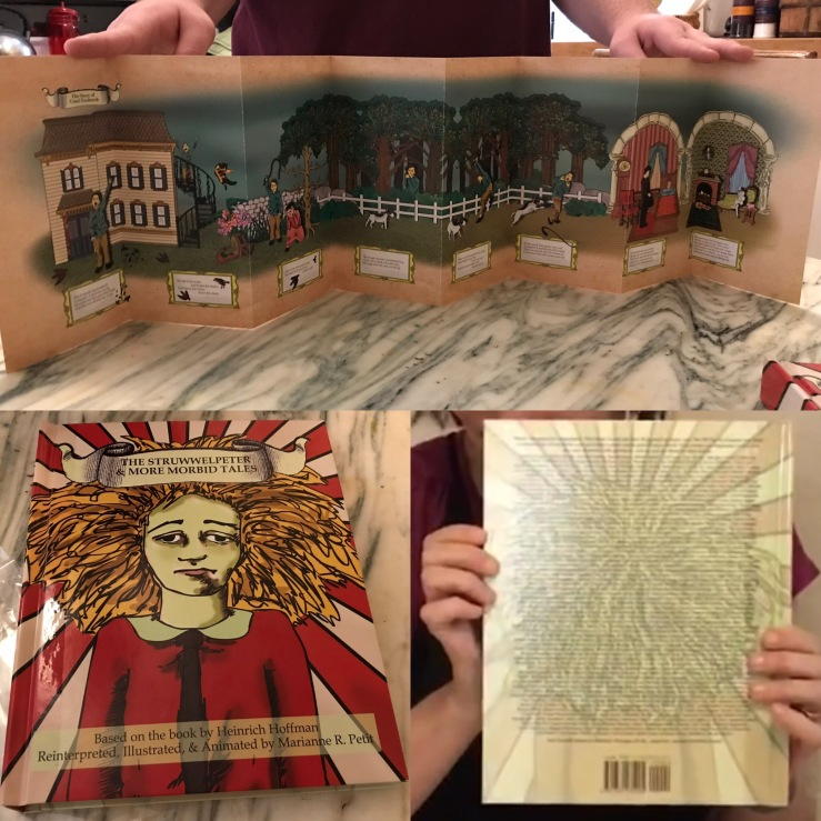 """The Struwwelpeter and More Morbid Pop-Up Tales"" sample book: Front Cover, Back Jacket, and Scroll containing The Story of Cruel Frederick"