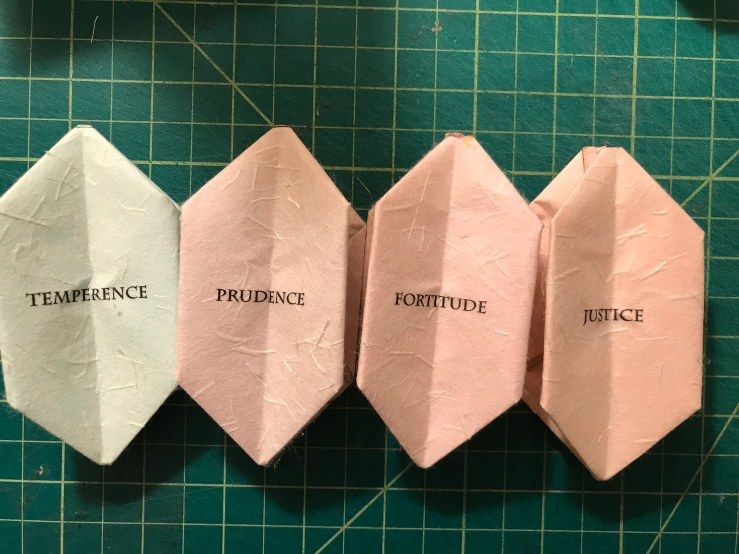 Temperence, Prudence, Fortitude, Justice - Closed Temperence, Prudence, Fortitude, Justice - Closed Back