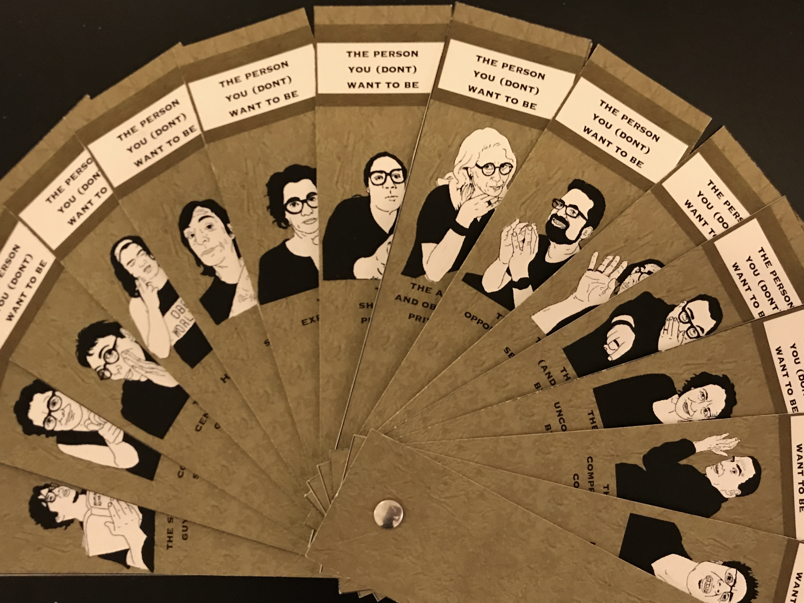 The Person You Don't Want to Be Swatchbook - fanned open with illustrations and names of each characteristic