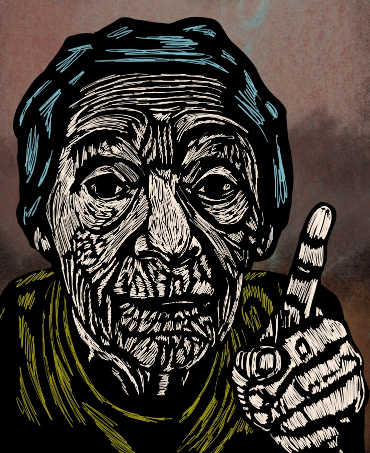 Illustration of old woman pointing her finger
