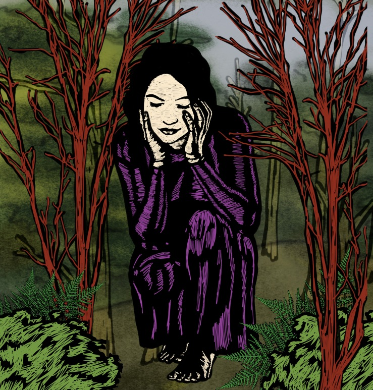 Illustration of young woman, kneeling in forest of red tres. her head is in her hands.