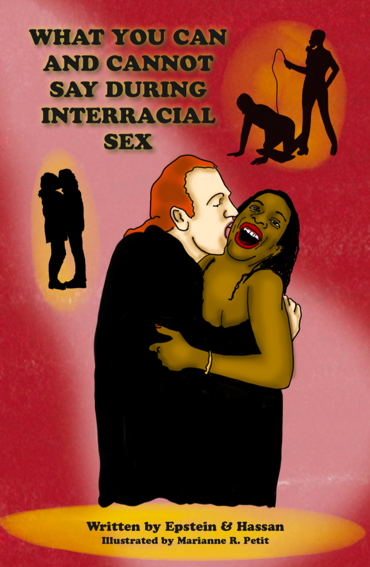 Image of white man with red hair kissing cheek (or whispering in ear) of black woman who looks surprised and happy. Silhouette of man and woman kissing. Silhouette of man on all fours with woman standing over him holding whip and wearing gas mask.